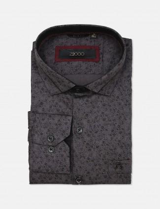 Zillian printed dark rey formal shirt for mens