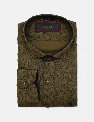 Zillian printed olive cotton formal shirt
