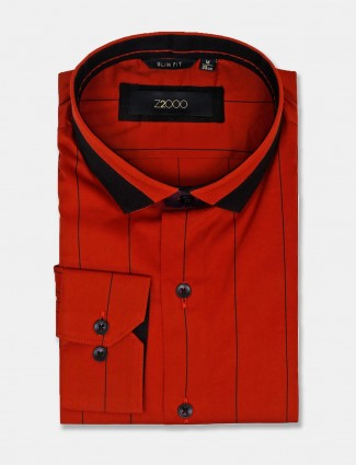 Zillian red cotton stripe slim fit shirt