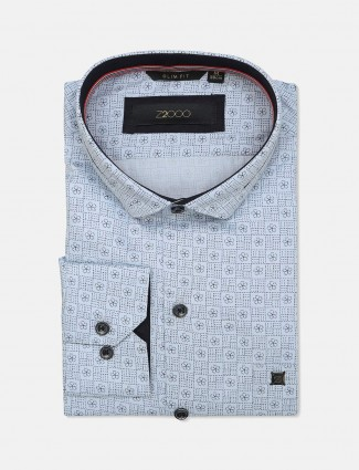 Zillian sky blue printed cotton mens shirt