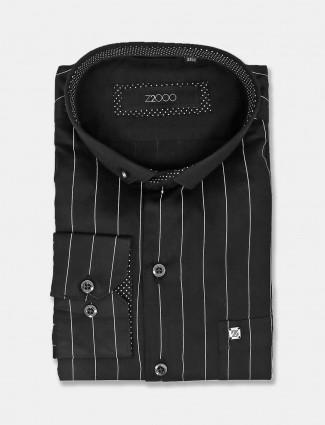 Zillian stripe black party wear shirt