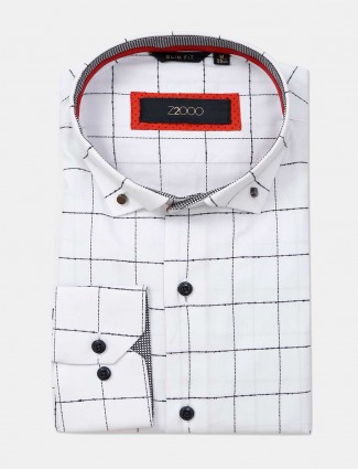 Zillian white cotton formal shirt with checks patern