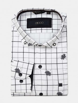 Zillian white printed cotton mens shirt