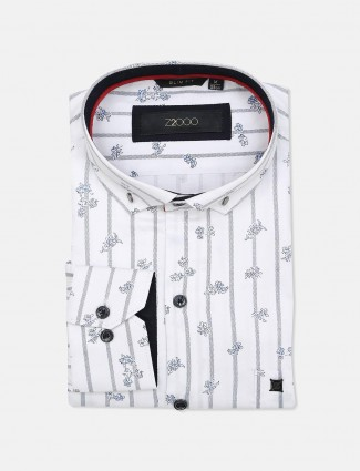 Zillian white printed formal shirt