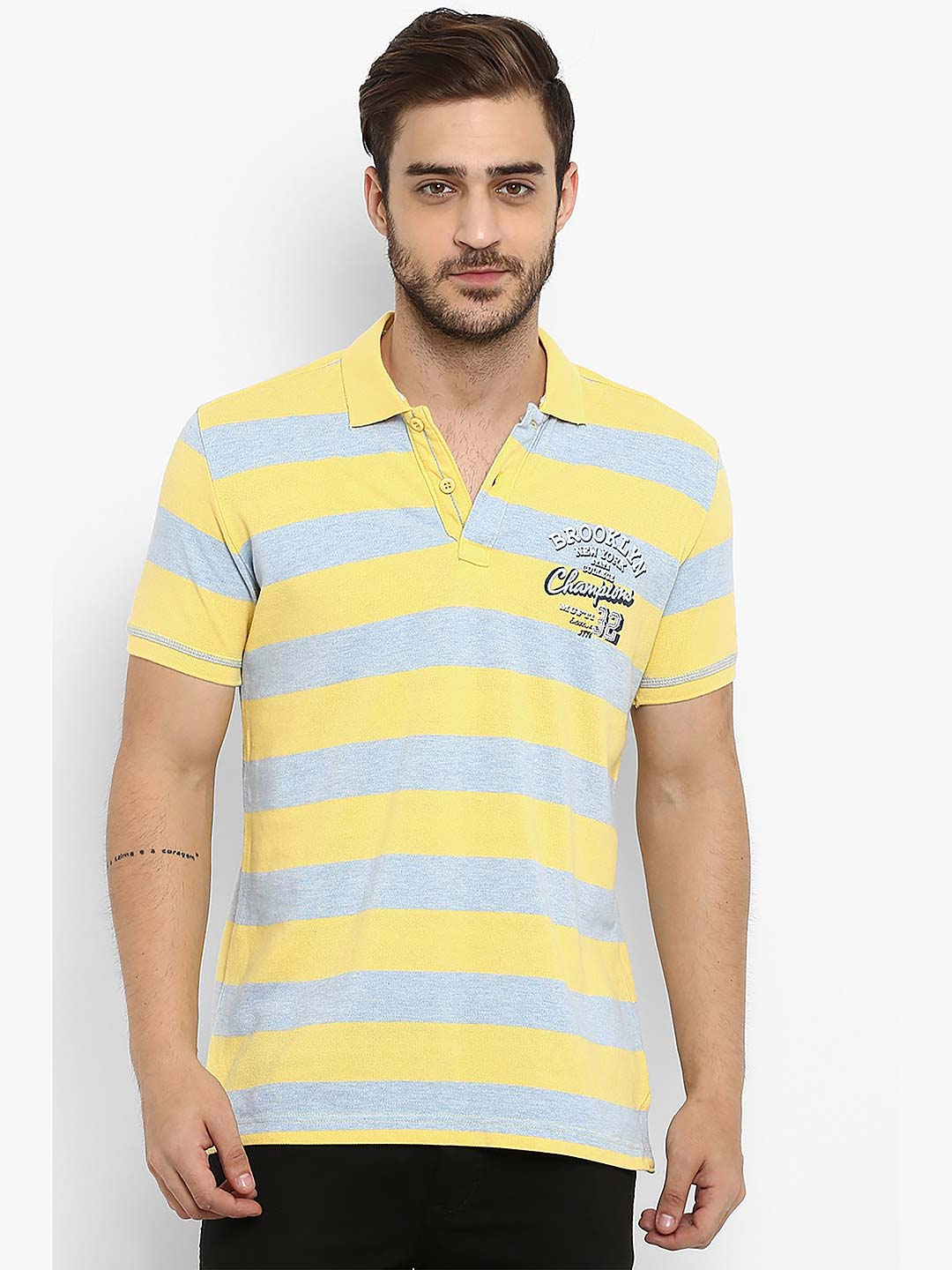 40ddfebc Mufti yellow and grey stripe polo t-shirt - G3-MTS8673 | G3fashion.com