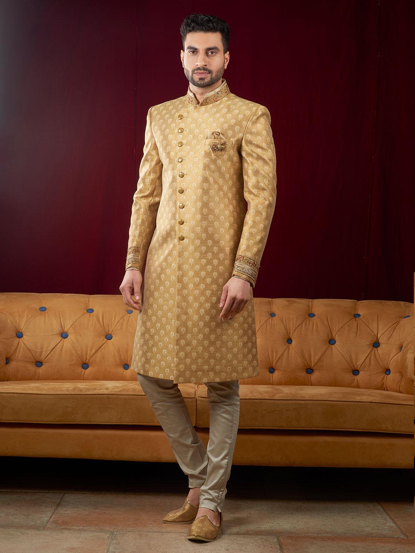 Mustard yellow color raw silk indo western - G3-MIW5817 ...