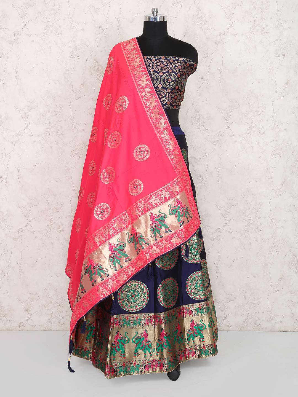 7d1d7f8048f Navy color festive lehenga choli in semi stitched - G3-WLC4243 ...