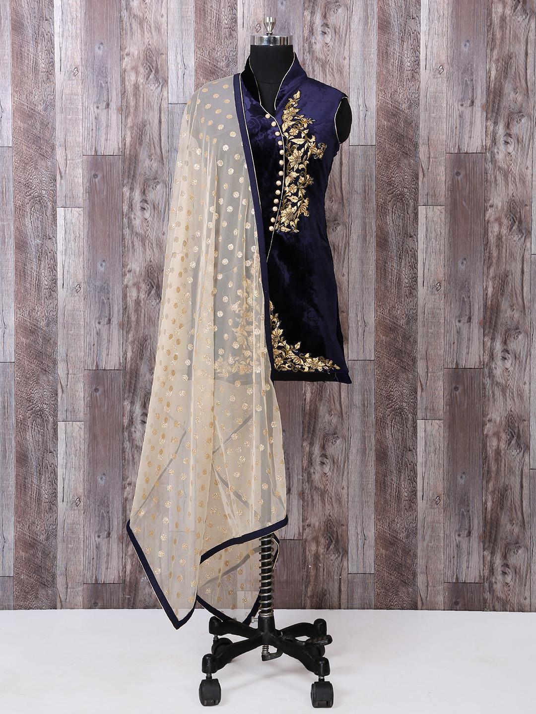 Navy Color Velvet Fabric Dhoti Suit