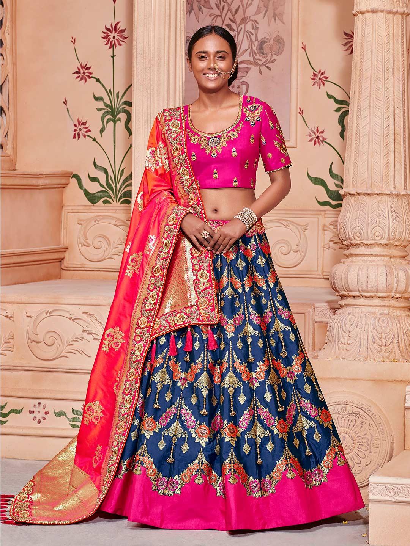7d7a55fe96ee1 Navy hue semi stitched banarasi silk lehenga choli - G3-WLC2904 ...