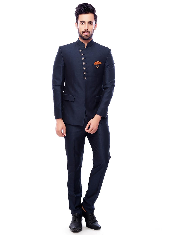 navy plain terry rayon jodhpuri suit 15109222511771 - Royal Wedding Pdf