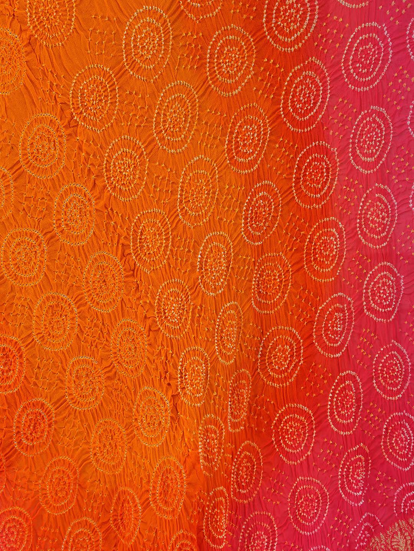 orange and pink bandhej dupatta g3 wdu1390. Black Bedroom Furniture Sets. Home Design Ideas
