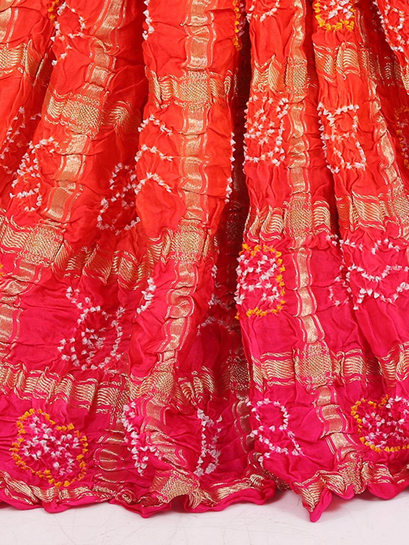 orange and pink color bandhej saree g3 wsa27540. Black Bedroom Furniture Sets. Home Design Ideas