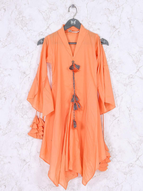 cb429b3853e Orange hue designer girls top - G3-GTO1289