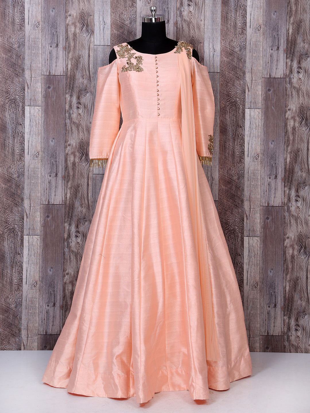 Peach Color Silk Party Wear Gown Hover To Zoom