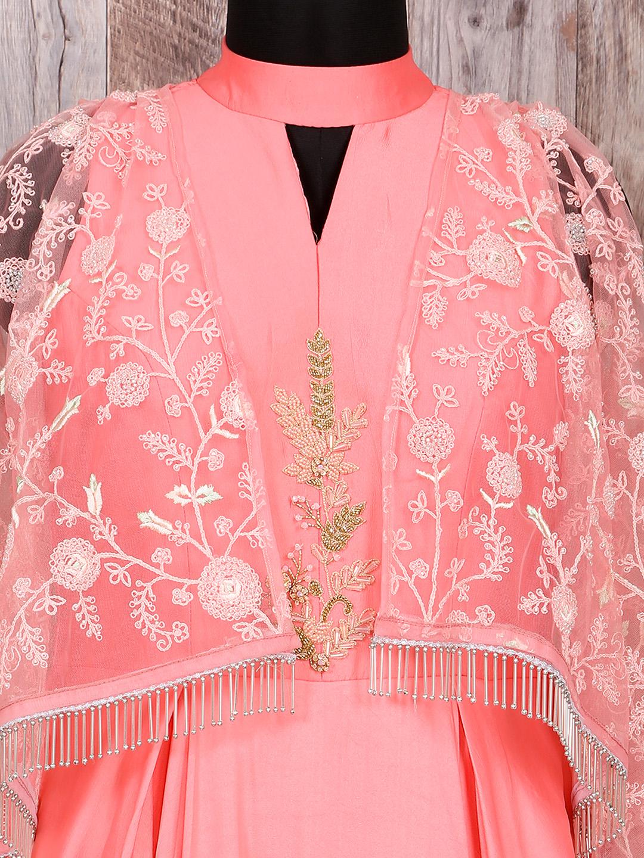 Peach designer cap style gown - G3-WGO1196 | G3fashion.com