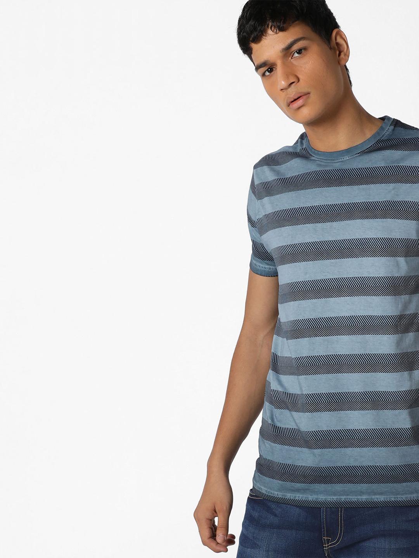 pepe jeans blue stripe cotton t shirt g3 mts5318. Black Bedroom Furniture Sets. Home Design Ideas