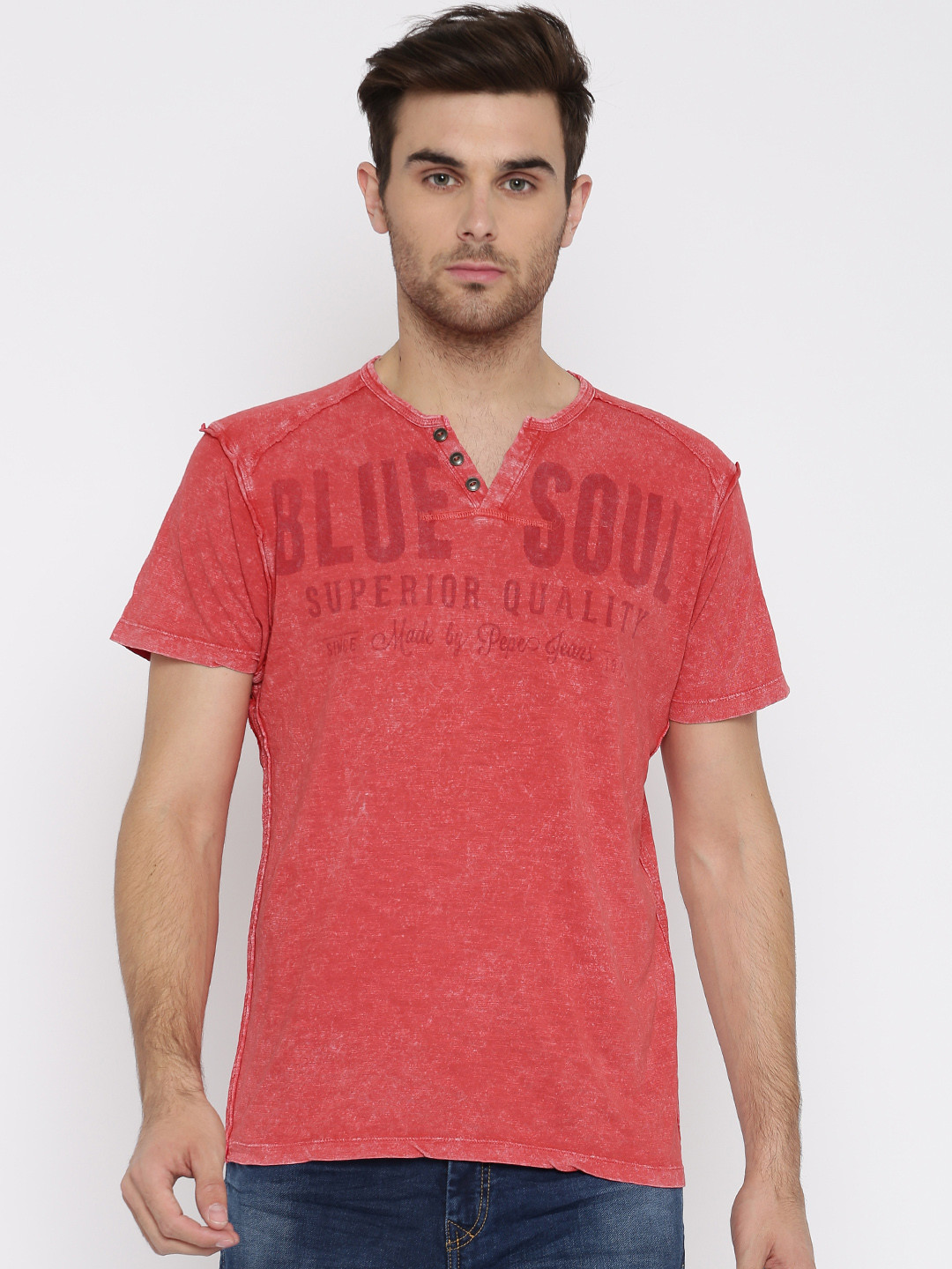 Pepe jeans printed red cotton slim fit t shirt g3 for Slim fit cotton shirts