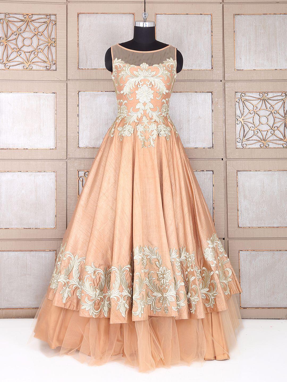Pretty peach color silk gown - G3-WGO0796   G3fashion.com