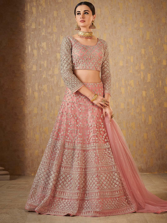Pink Net Saree: Pretty Pink Net Fabric Designer Lehenga Choli