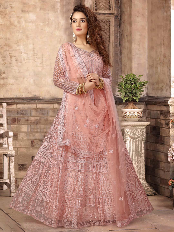 Pretty pink net wedding lehenga choli - G3-WLC6247   G3fashion.com