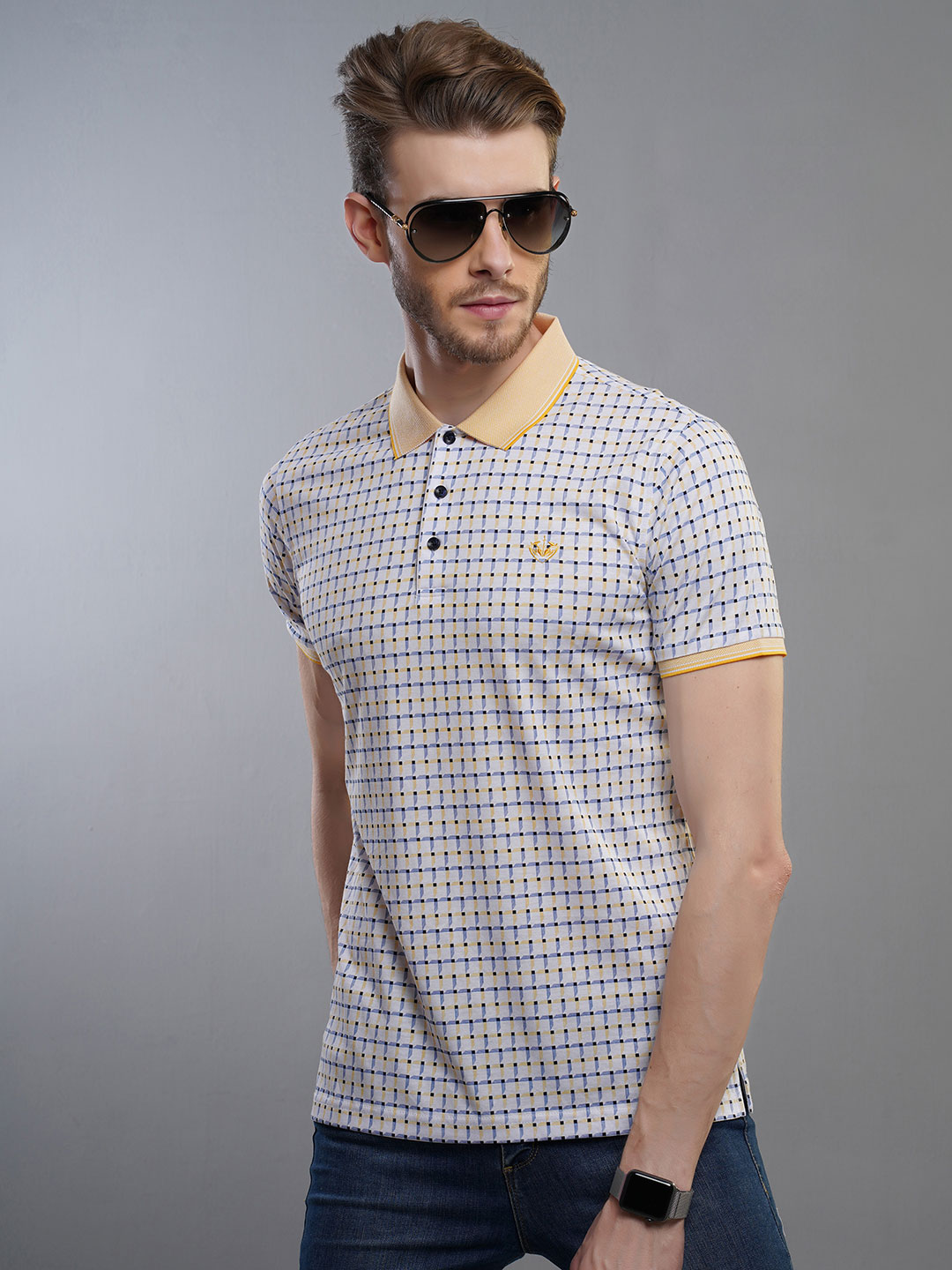afe0c130d41 Psoulz off white and yellow checks pattern t-shirt - G3-MTS8095 ...