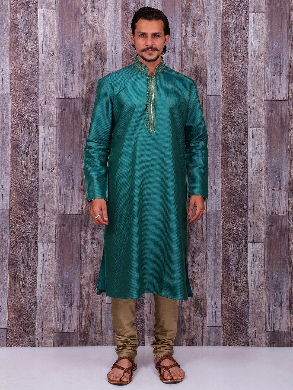 Rama green cotton silk kurta suit - G3-MKS0260 | G3fashion.com