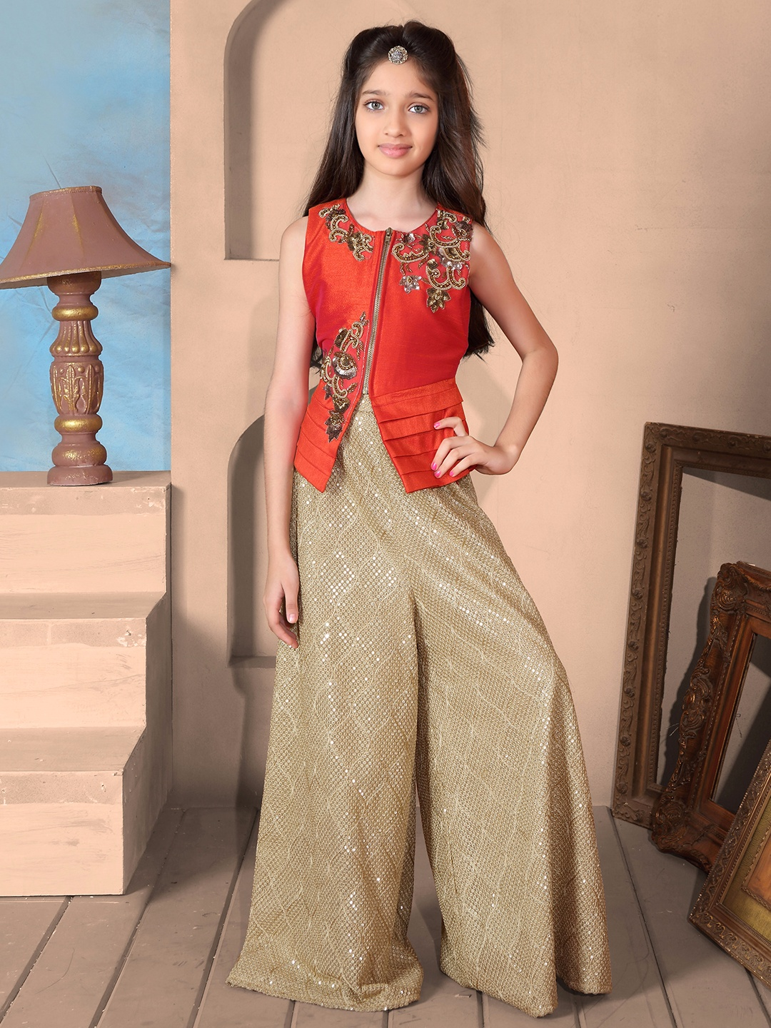 Raw Silk Red Plazo Suit G3 Gss0501 G3fashion Com