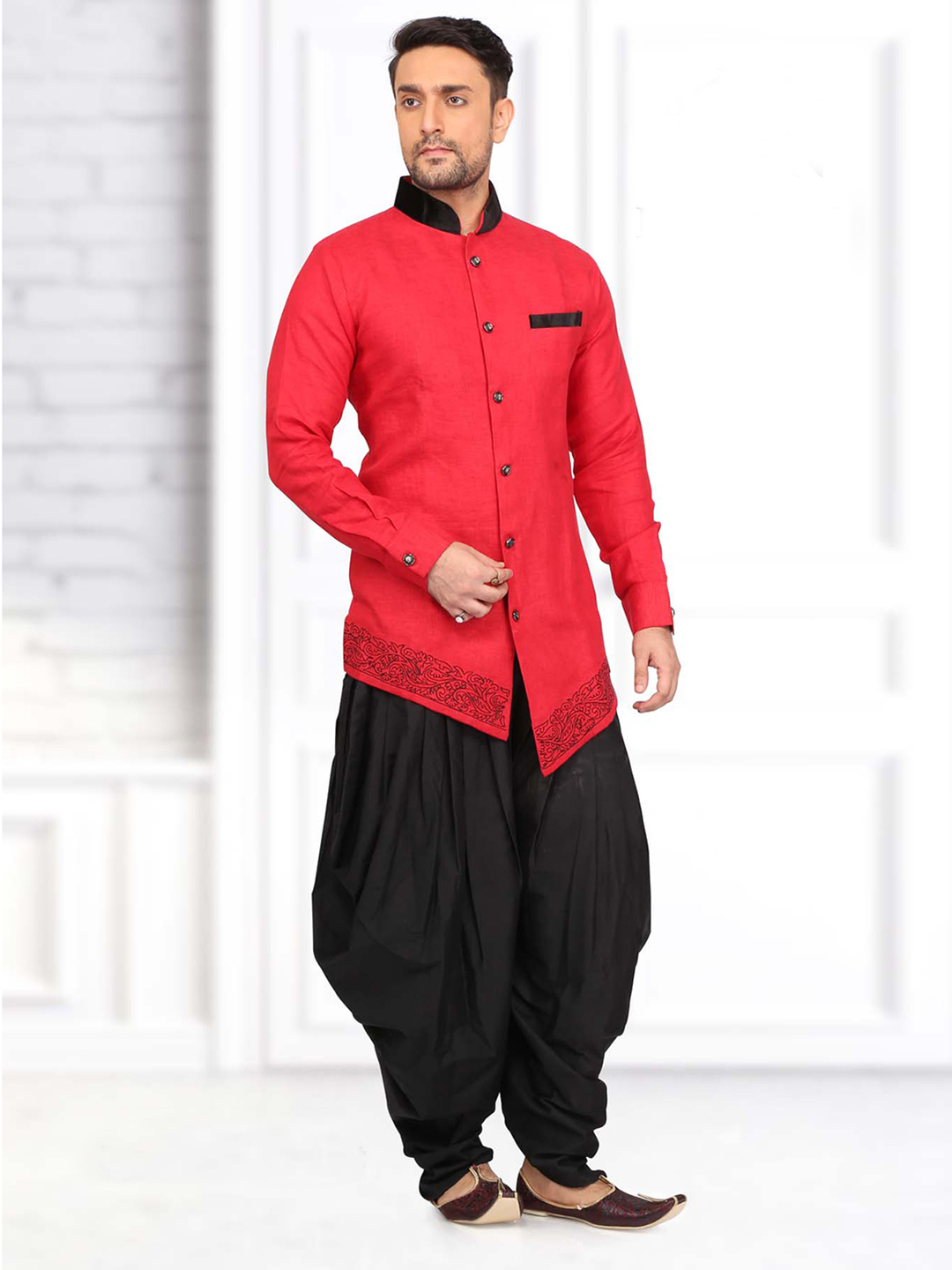 b95bd75ebb9 Red black indo western style pathani suit - G3-MPS0528