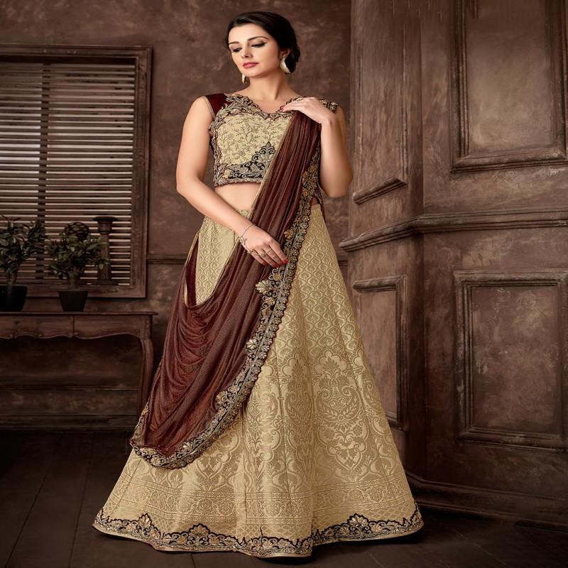 Designer gold and brown lehenga cum saree for wedding in