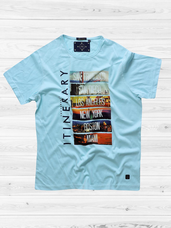 River Blue Aqua Color Printed T Shirt G3 Mts6307 G3fashion