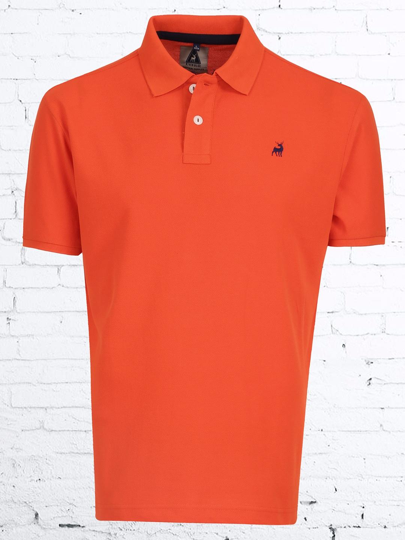 River blue plain orange cotton polo t shirt g3 mts4599 for Orange polo shirt mens