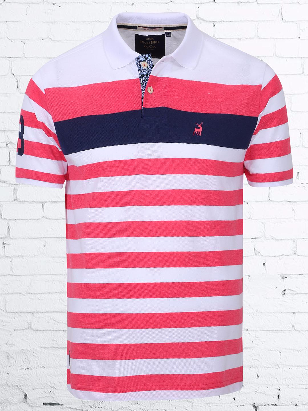 River Blue Stripe Pattern Pink And White T Shirt G3