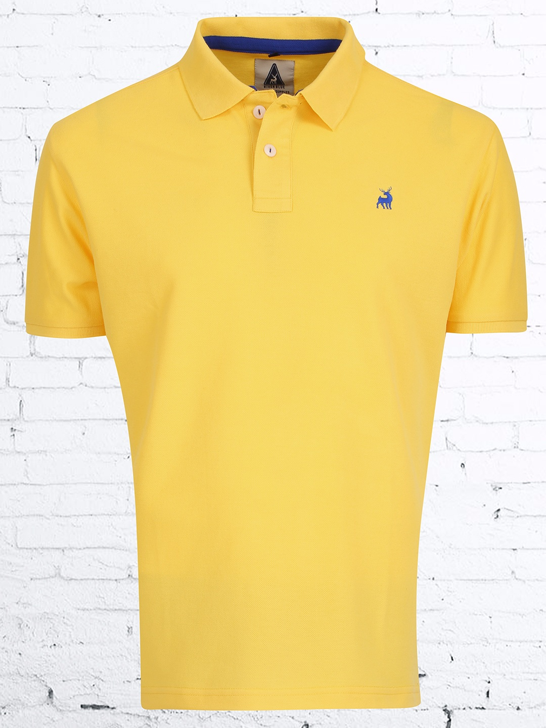 River blue yellow slim fit cotton t shirt g3 mts4606 for Slim fit cotton shirts
