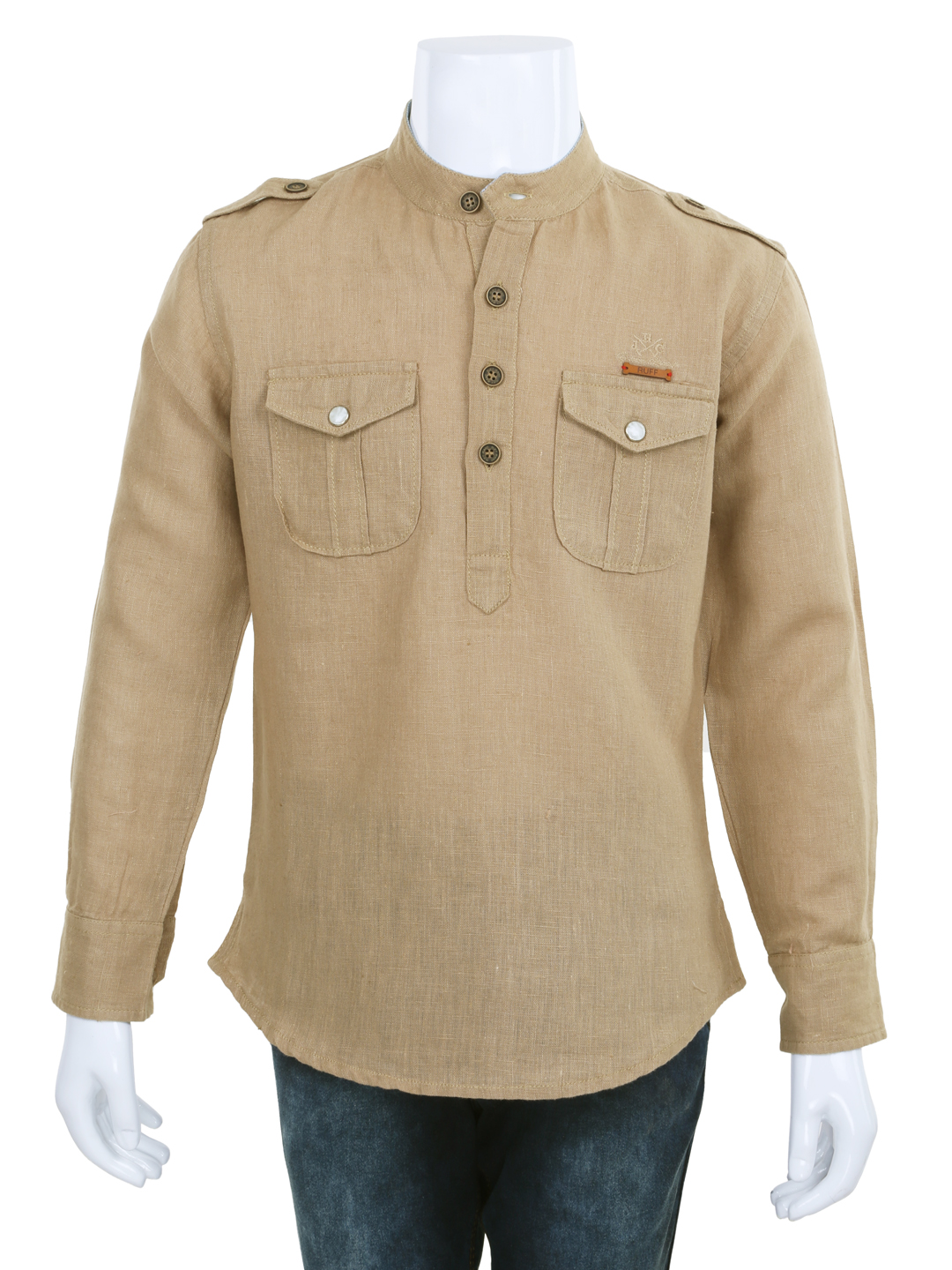 Ruff beige plain linen casual wear shirt for boys - G3 ...