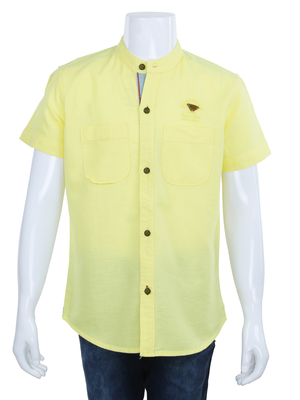 Ruff plain yellow cotton casual shirt for boys - G3 ...