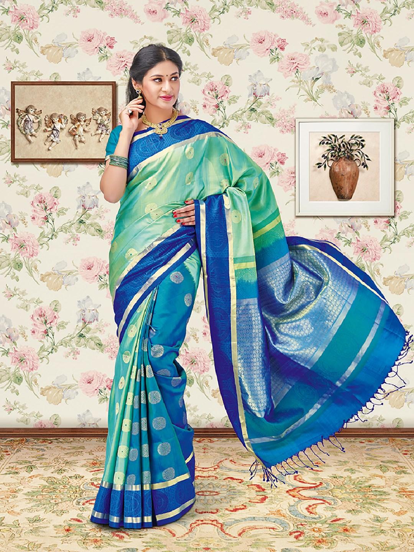 3716714916308 Sea green and blue soft silk saree - G3-WSA18625