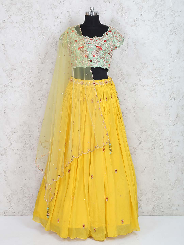 Sea Green And Yellow Wedding Wear Lehenga Choli G3 Wlc3475