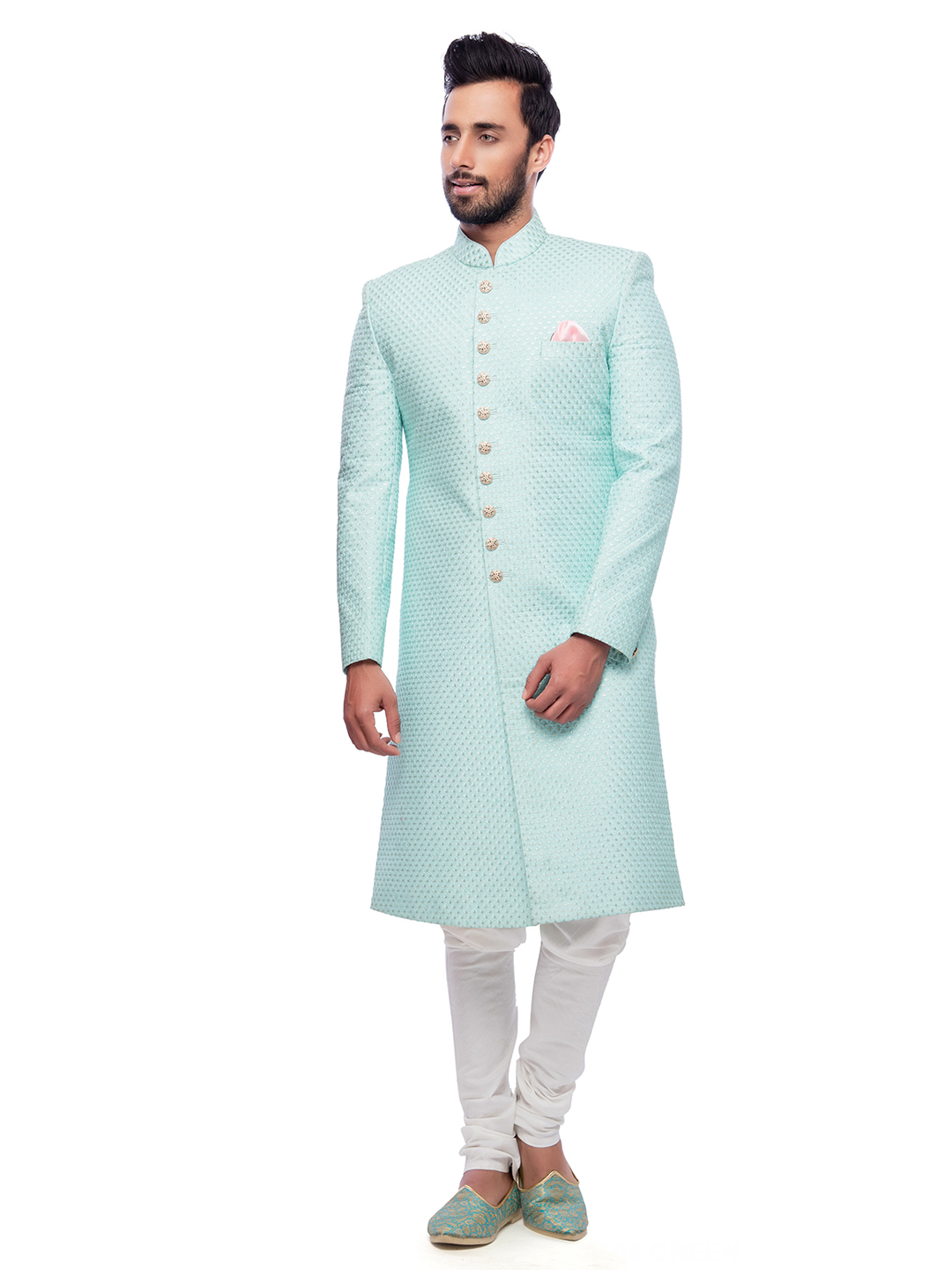 Sea green silk wedding wear sherwani - G3-MSH0162 | G3fashion.com