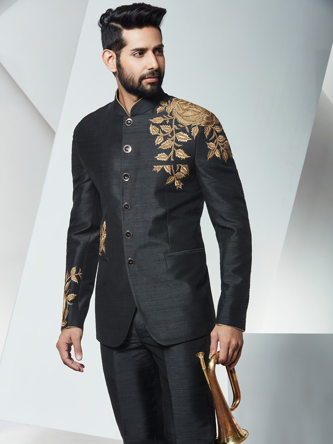 Silk black wedding wear jodhpuri suit - G3-MCO0742 | G3fashion.com