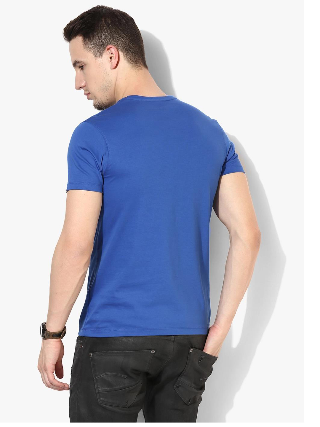 Spykar blue cotton printed slim fit t shirt g3 mts4841 for Fitted t shirt printing