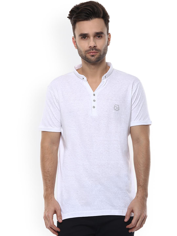 Spykar plain cotton white casual t shirt g3 mts4834 for Casual white t shirt