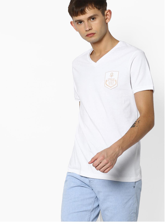 Spykar plain slim fit white cotton t shirt g3 mts4814 for Slim fit cotton shirts