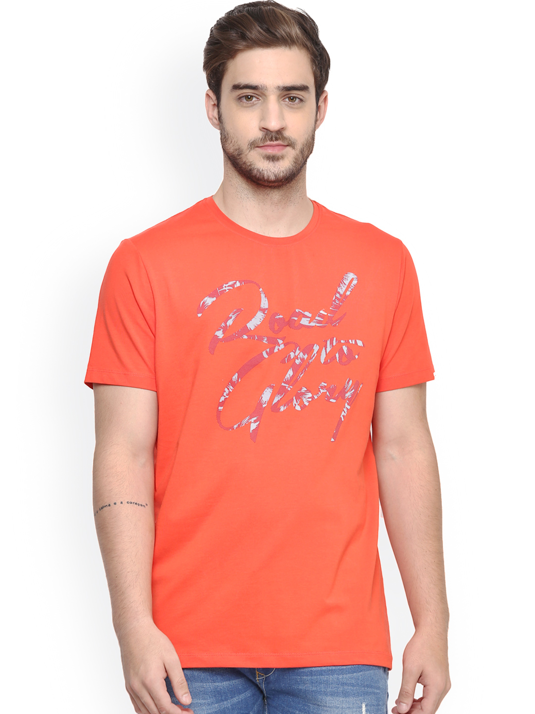 Spykar printed orange slim fit cotton t shirt g3 mts4811 for Fitted t shirt printing