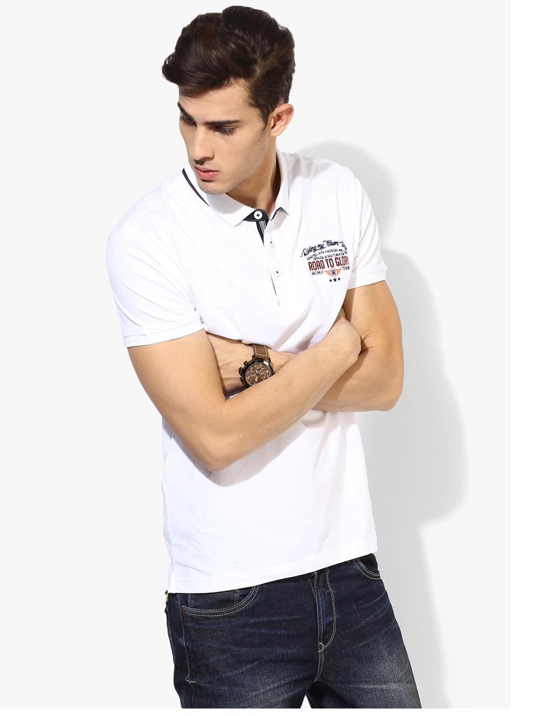 Spykar solid white cotton slim fit t shirt g3 mts4844 for Slim fit cotton shirts