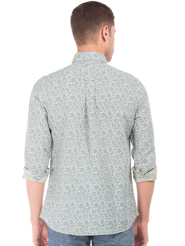 U s polo beige printed slim fit cotton shirt g3 mcs3531 for Slim fit cotton shirts