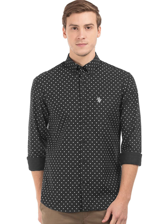 U s polo black slim fit cotton shirt g3 mcs3533 for Slim fit cotton shirts