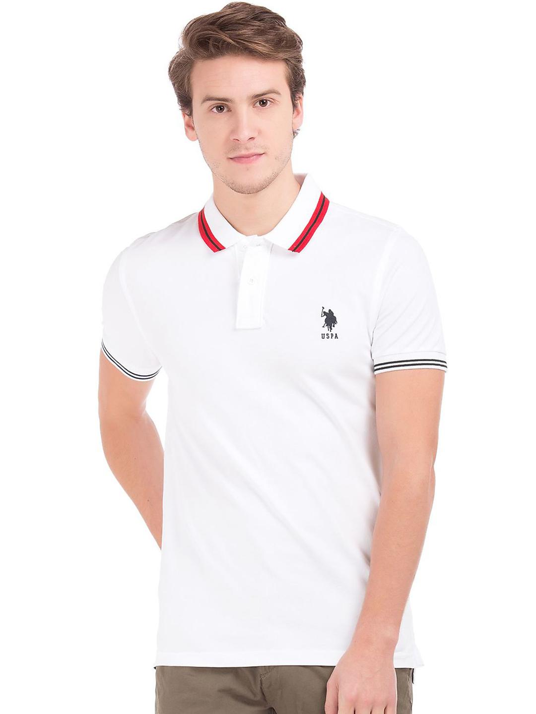 U.S.Polo plain white cotton polo t-shirt - G3-MTS4276 ...