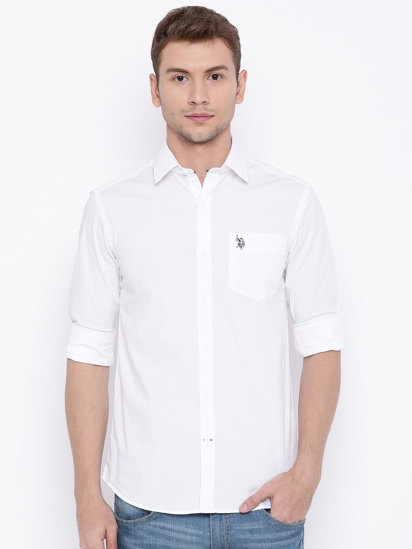 U s polo plain white cotton slim fit men shirt g3 for Mens slim white shirt