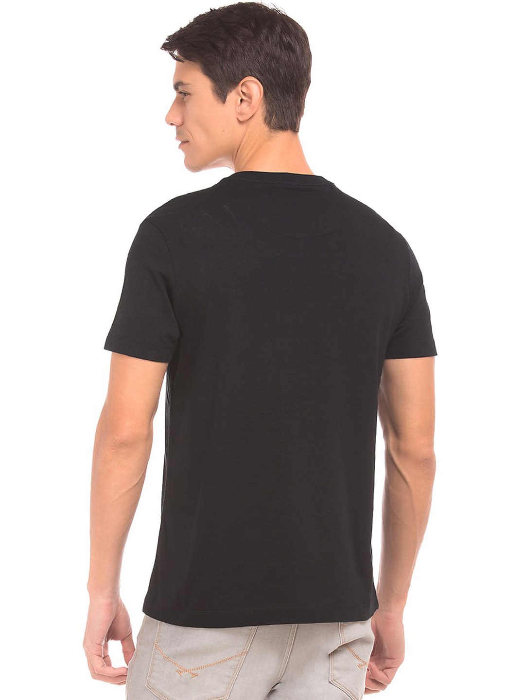 U s polo black color plain v neck t shirt g3 mts5812 for Plain colored v neck t shirts