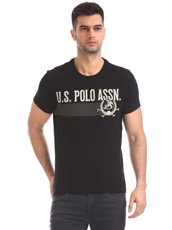 c63a508da U S Polo black printed casual cotton t-shirt - G3-MTS8188